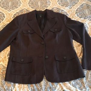 Style & Co Linen chocolate brown blazer